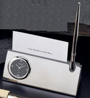Silver Card & Pen Holder w/ Clock - AD144 - Engraveable card holder that comes with clock